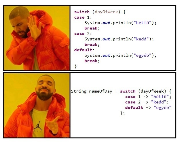 switch expression szemléltetése Drake-kel
