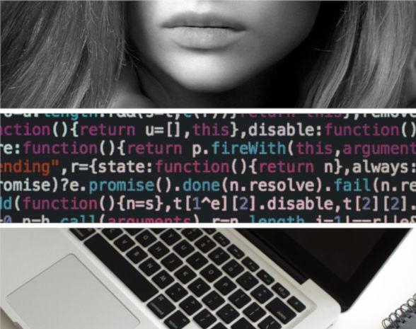 Programozás nőknek fotókollázs programkóddal és női ajkakkal